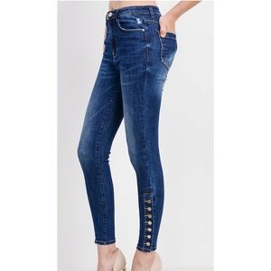 BANDIT Button Ankle High Rise Skinny Jean